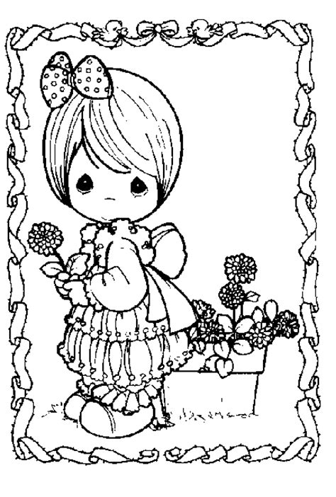 precious moments coloring page precious moments girl  flower  kids network