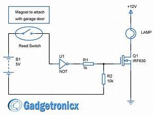 Garage Door Lights Circuit Diagram Using Reed Switch   Not