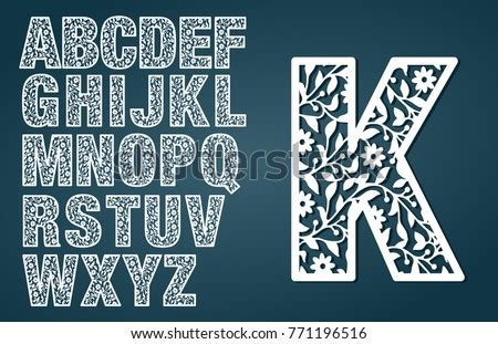 laser cut template initial monogram letters stock vector royalty   shutterstock