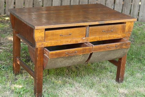 Rustic Wood Baker's Table with Metal Potbelly Drawers
