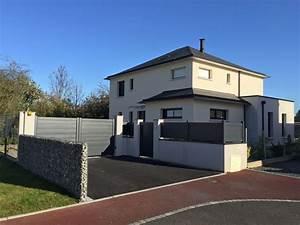 Portail De Maison : portail portillon et cl ture pos s avec le mur gabion ~ Premium-room.com Idées de Décoration