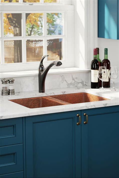 equal double bowl copper sink kitchen design