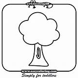 Tree Trees Coloring Three Simple Easy Pages Toddlers Easycoloring sketch template