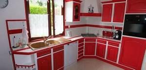 cuisine repeinte rouge With exemple de cuisine repeinte