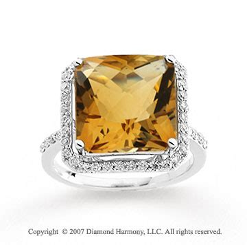 white gold princess citrine diamond statement ring