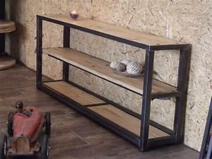 Console En Bois : table console en bois metal de style industriel micheli design ~ Teatrodelosmanantiales.com Idées de Décoration