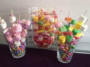 Deco Bonbon Anniversaire : brochettes de bonbons ton rose et multicolores sur nid de smarties bonbons pinterest ~ Melissatoandfro.com Idées de Décoration
