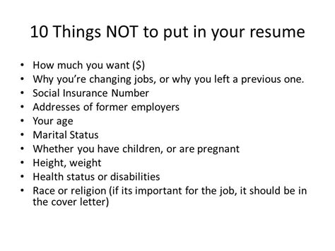 things not to put on a resume resume ideas