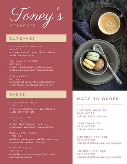 customize  dessert menu templates  canva