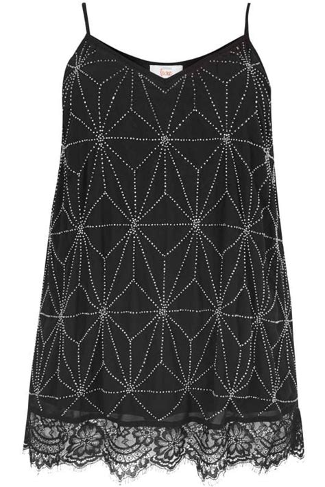 LUXE Black & Silver Embellished Cami Top With Lace Hem