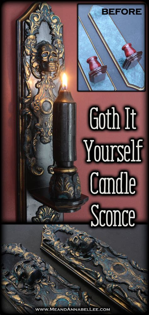 diy gothic baroque skull candle sconces goth home decor
