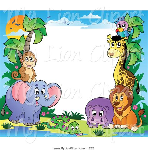 Zoo Animal Wallpaper Borders - animal clipart border pencil and in color animal clipart