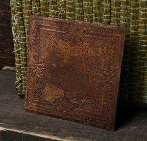 Rusty Tin Dots and Shells Embossed Tin Ceiling Tile
