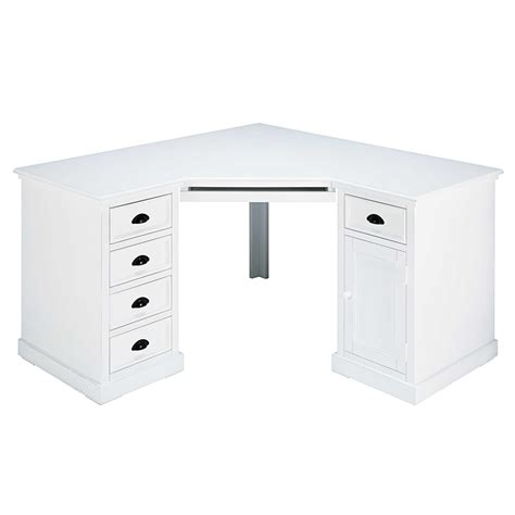 deco chambre mer bureau d 39 angle 1 porte 5 tiroirs en sapin blanc newport
