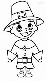 Coloring Pilgrim Pages Printable Pilgrims Hat Cool2bkids Thanksgiving Indians Children Indian sketch template