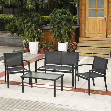 Porch Table Set by Black Ikayaa 4pcs Outdoor Patio Garden Porch Sofa Chairs