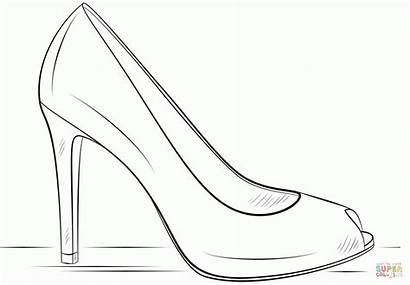Coloring Heel Shoe Pages Drawing Outline Heels
