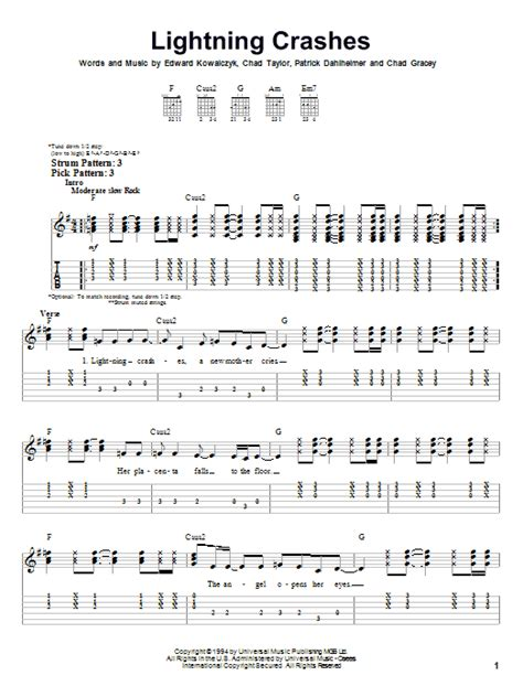 crashes lyrics lightning crashes by live easy guitar tab guitar Lighting
