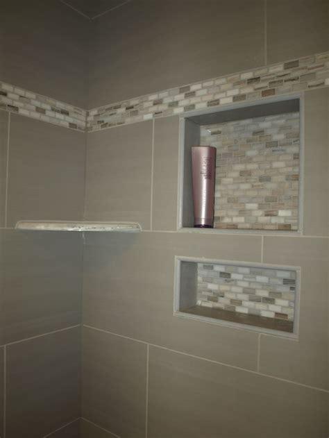 bianco cream granite corner shelf  custom tile recessed