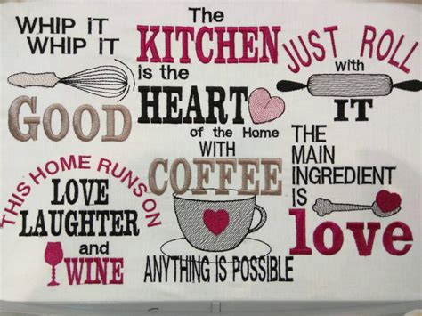 Kitchen Cute Quotes Machine Embroidery Designs X X