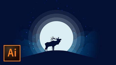 Animal Illustration Wallpaper - animal silhouette moonlight vector illustration