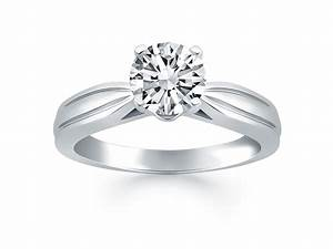 tapered engagement solitaire ring in 14k white gold With tapered wedding ring