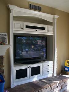 white built in entertainment center Family Room ...