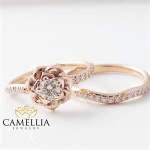 flower wedding ring set 14k gold engagement ring set gold flower