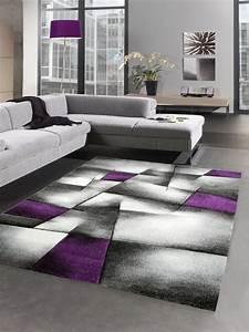 Tapis Salon Poil Ras : modern tapis poil ras tapis de salon r sum karo noir gris blanc violet ebay ~ Teatrodelosmanantiales.com Idées de Décoration