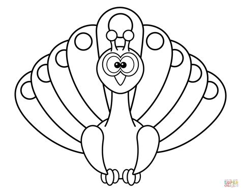Peacock Clipart Coloring Page