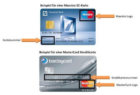 unterschied zwischen einer kreditkarte und einer maestro karte