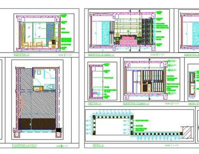 hotel guest room interiors working drawing dwg design