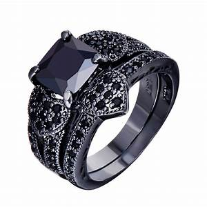Black gold filled jewelry male female ring sets vintage for Wedding rings for male and female
