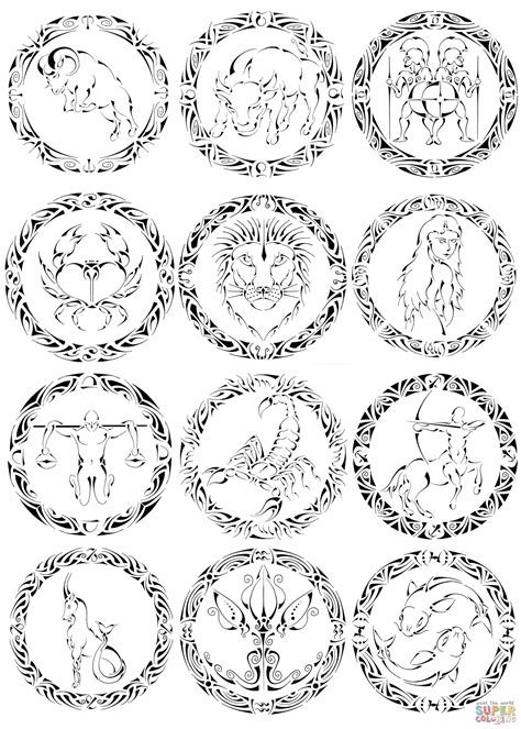 zodiac signs  curvy tribal coloring page