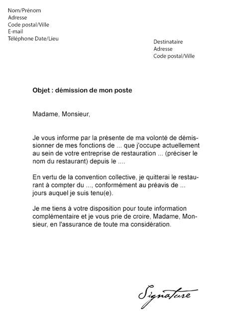 lettre de motivation pour aide de cuisine lettre de démission restauration modèle de lettre