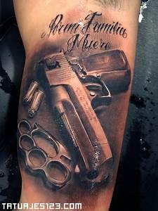 tatuaje pistola y dedicatoria tatuajes 123