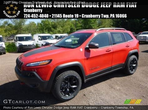 jeep cherokee trailhawk red firecracker red 2017 jeep cherokee trailhawk 4x4 black
