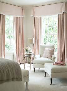 white bedroom with pink valance and curtains traditional