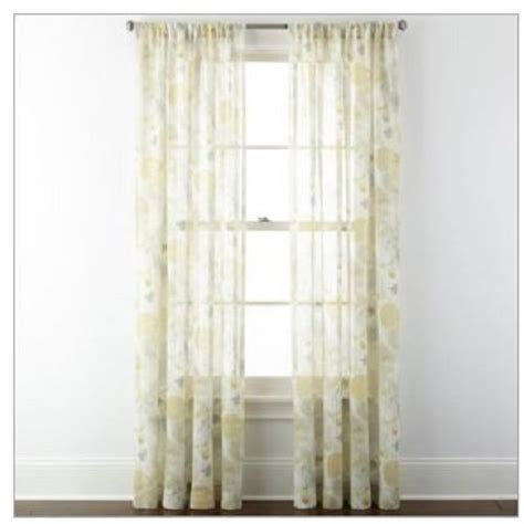 jcpenney sheer curtain rods new jcpenney home corina rod pocket sheer panel window