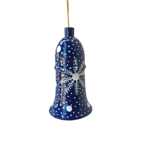 blue with snowflake bell christmas decoration jasmine white