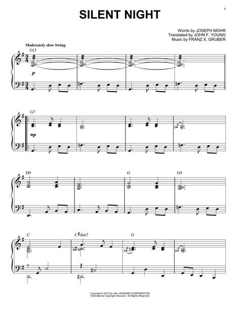 This sheet music is silent night by franz gruber arranged for piano by jim paterson. Silent Night sheet music by Franz Gruber (Piano - 161353)