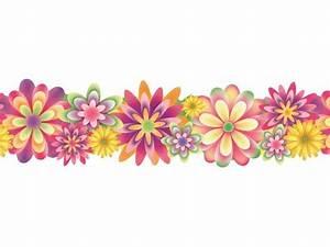 Flower Border Line Clipart - Clip Art Library