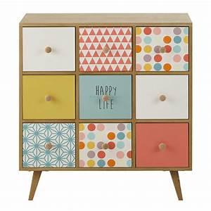 cabinet en bois multicolore l 78 cm alix maisons du monde With maison du monde cabinet