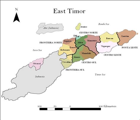 map showing east timor