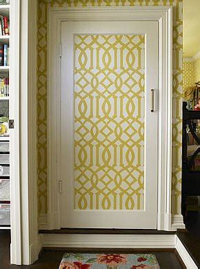 wallpapered doors