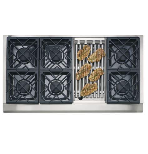 ge monogram  professional gas cooktop   burners  grill natural gas zgunrhss