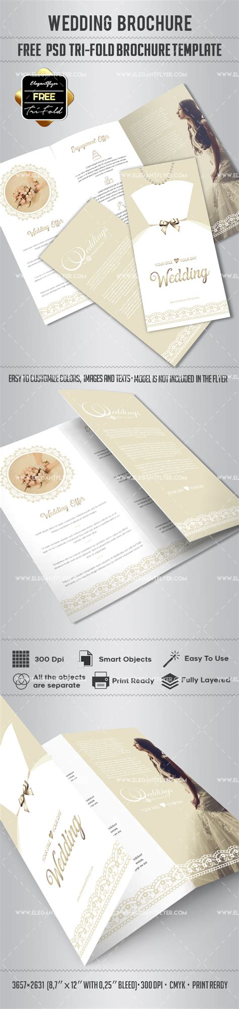 Tri Fold Brochure Templates Free By Elegantflyer Free Wedding Tri Fold Psd Brochure Template By Elegantflyer