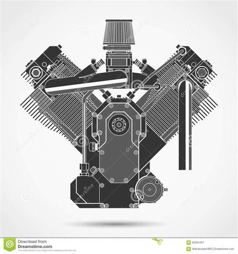 motorcycle engine vector stock vector illustration  black