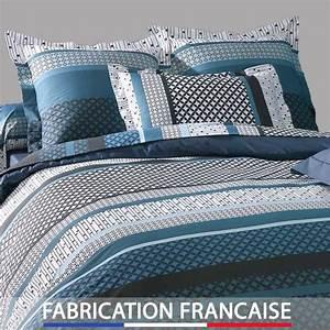 Housse Couette 240x260 : housse de couette 240x260 design bleu 2 taies d 39 oreillers ~ Teatrodelosmanantiales.com Idées de Décoration