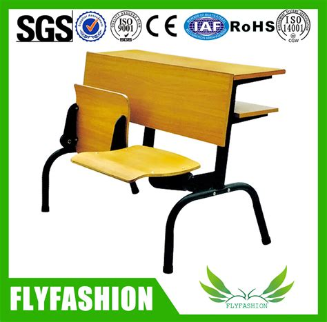 folding table and chair school desk with attached chair